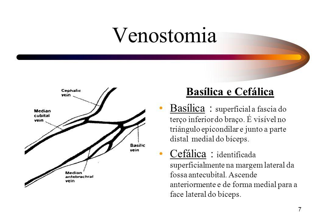 7 Venostomia Basílica e Cefálica Basílica : superficial a fascia do terço inferior do braço. É visível no triângulo epicondilar e junto a parte distal