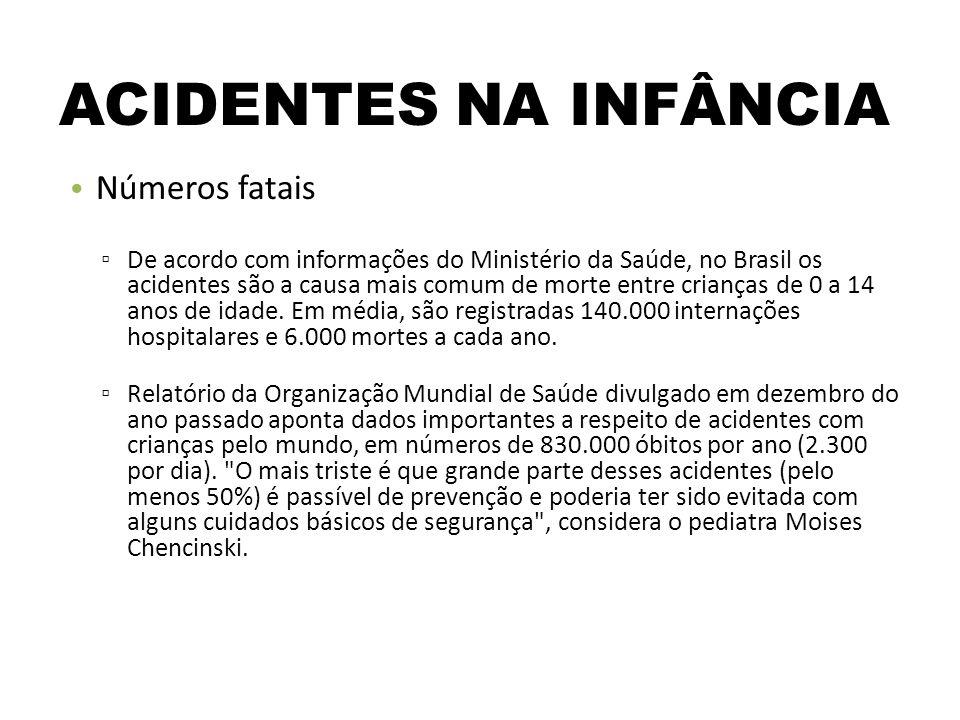 ACIDENTES NA INFÂNCIA Números fatais De acordo com informações do Ministério da Saúde, no Brasil os acidentes são a causa mais comum de morte entre crianças de 0 a 14 anos de idade.