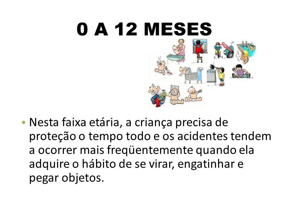 0 A 12 MESES Nesta faixa etária, a criança precisa de proteção o tempo todo e os acidentes tendem a ocorrer mais freqüentemente quando ela adquire o hábito de se virar, engatinhar e pegar objetos.