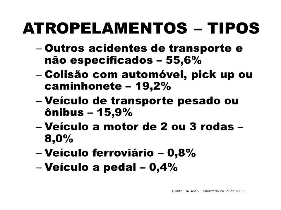 ATROPELAMENTOS – TIPOS – Outros acidentes de transporte e não especificados – 55,6% – Colisão com automóvel, pick up ou caminhonete – 19,2% – Veículo de transporte pesado ou ônibus – 15,9% – Veículo a motor de 2 ou 3 rodas – 8,0% – Veículo ferroviário – 0,8% – Veículo a pedal – 0,4% (Fonte: DATASUS – Ministério da Saúde 2006)