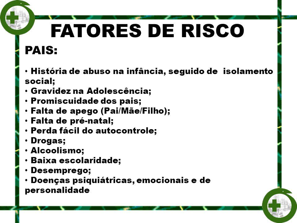 FATORES DE RISCO PAIS: História de abuso na infância, seguido de isolamento social; Gravidez na Adolescência; Promiscuidade dos pais; Falta de apego (