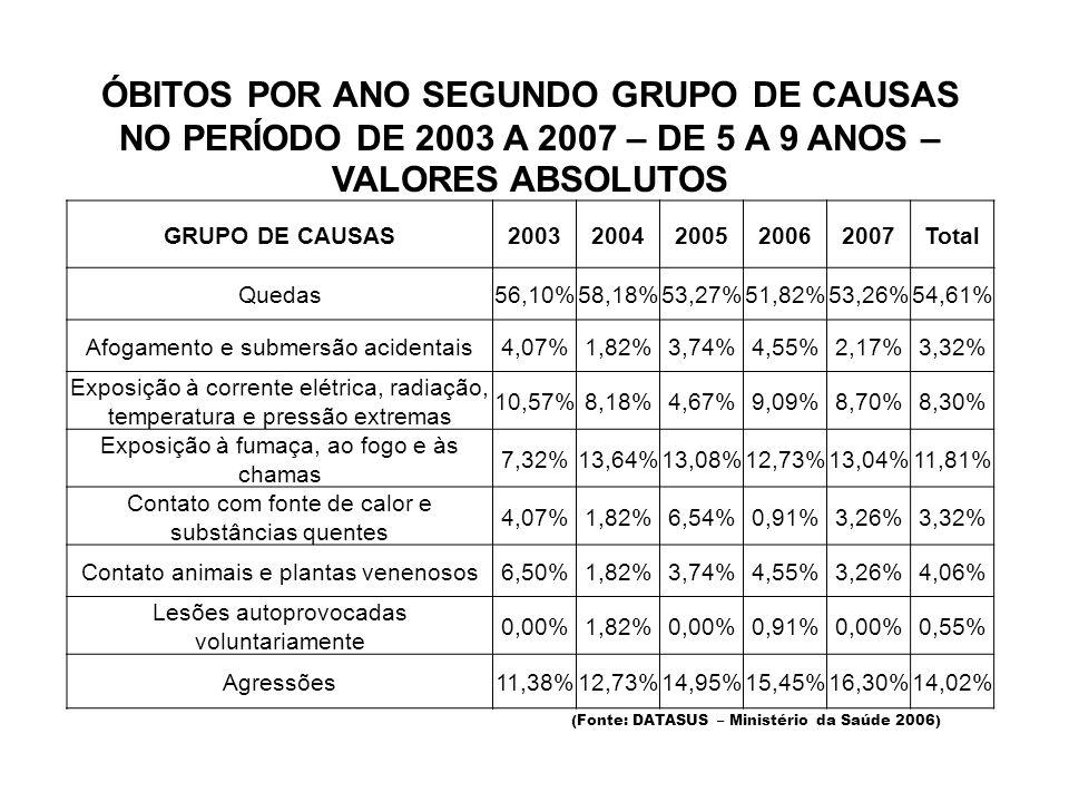 ÓBITOS POR ANO SEGUNDO GRUPO DE CAUSAS NO PERÍODO DE 2003 A 2007 – DE 5 A 9 ANOS – VALORES ABSOLUTOS (Fonte: DATASUS – Ministério da Saúde 2006) GRUPO DE CAUSAS20032004200520062007Total Quedas 56,10%58,18%53,27%51,82%53,26%54,61% Afogamento e submersão acidentais 4,07%1,82%3,74%4,55%2,17%3,32% Exposição à corrente elétrica, radiação, temperatura e pressão extremas 10,57%8,18%4,67%9,09%8,70%8,30% Exposição à fumaça, ao fogo e às chamas 7,32%13,64%13,08%12,73%13,04%11,81% Contato com fonte de calor e substâncias quentes 4,07%1,82%6,54%0,91%3,26%3,32% Contato animais e plantas venenosos 6,50%1,82%3,74%4,55%3,26%4,06% Lesões autoprovocadas voluntariamente 0,00%1,82%0,00%0,91%0,00%0,55% Agressões 11,38%12,73%14,95%15,45%16,30%14,02%