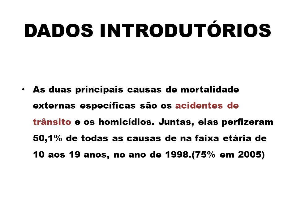 As duas principais causas de mortalidade externas específicas são os acidentes de trânsito e os homicídios.