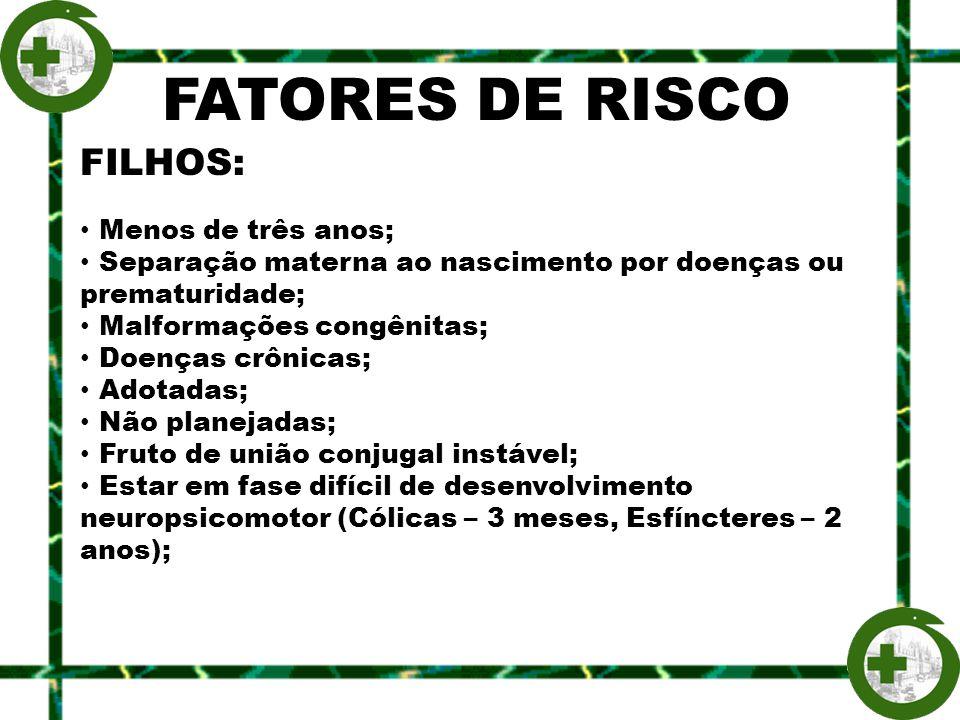FATORES DE RISCO FILHOS: Menos de três anos; Separação materna ao nascimento por doenças ou prematuridade; Malformações congênitas; Doenças crônicas;