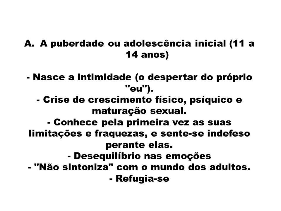 A.A puberdade ou adolescência inicial (11 a 14 anos) - Nasce a intimidade (o despertar do próprio eu ).
