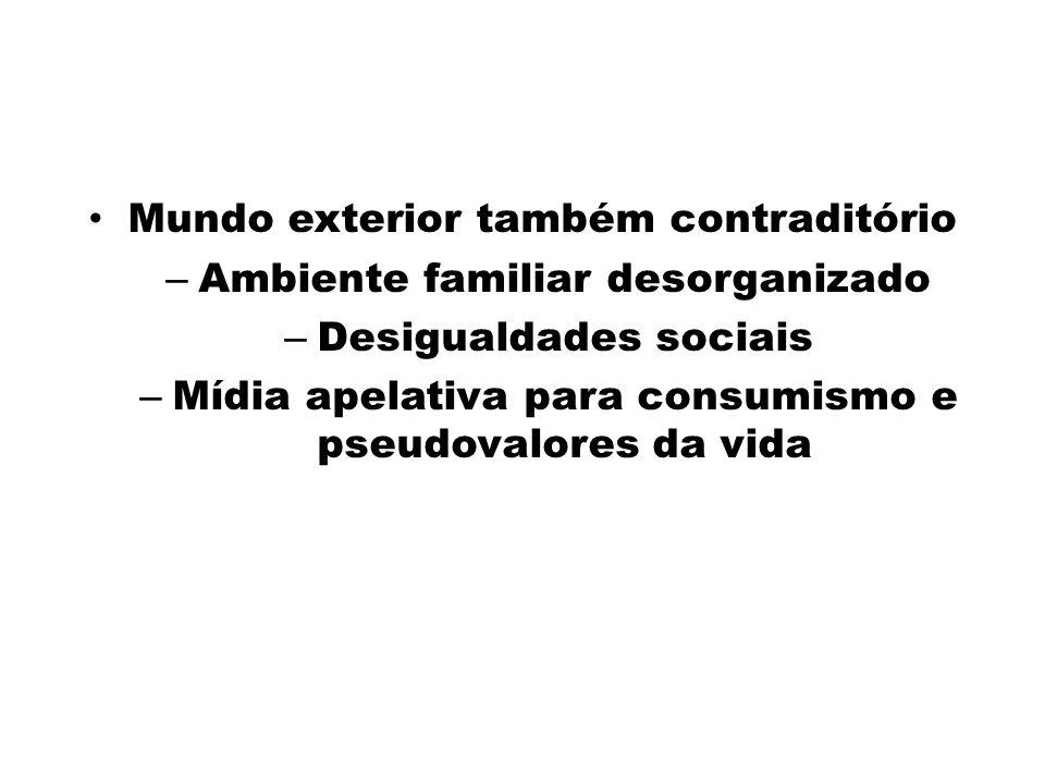 Mundo exterior também contraditório – Ambiente familiar desorganizado – Desigualdades sociais – Mídia apelativa para consumismo e pseudovalores da vid