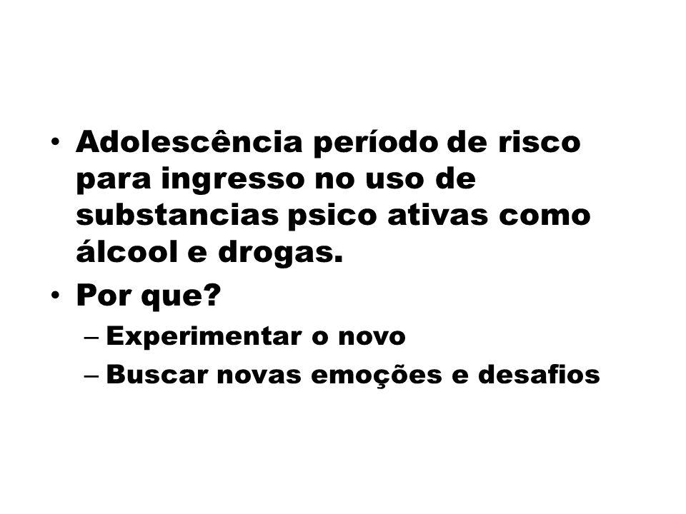 Adolescência período de risco para ingresso no uso de substancias psico ativas como álcool e drogas. Por que? – Experimentar o novo – Buscar novas emo