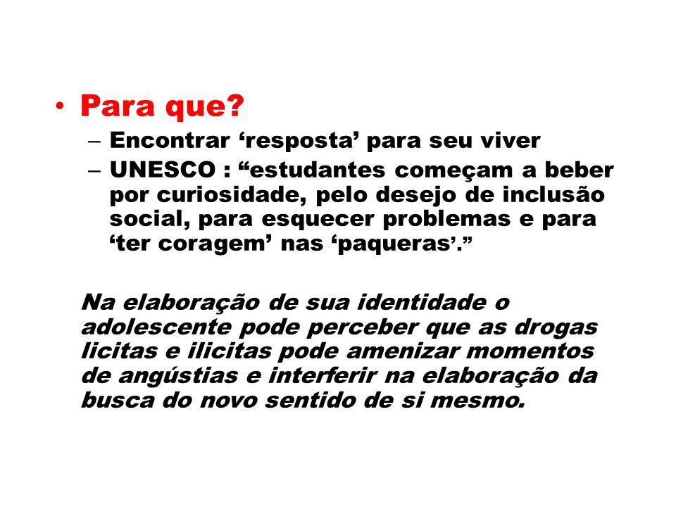 Para que? – Encontrar resposta para seu viver – UNESCO : estudantes começam a beber por curiosidade, pelo desejo de inclusão social, para esquecer pro