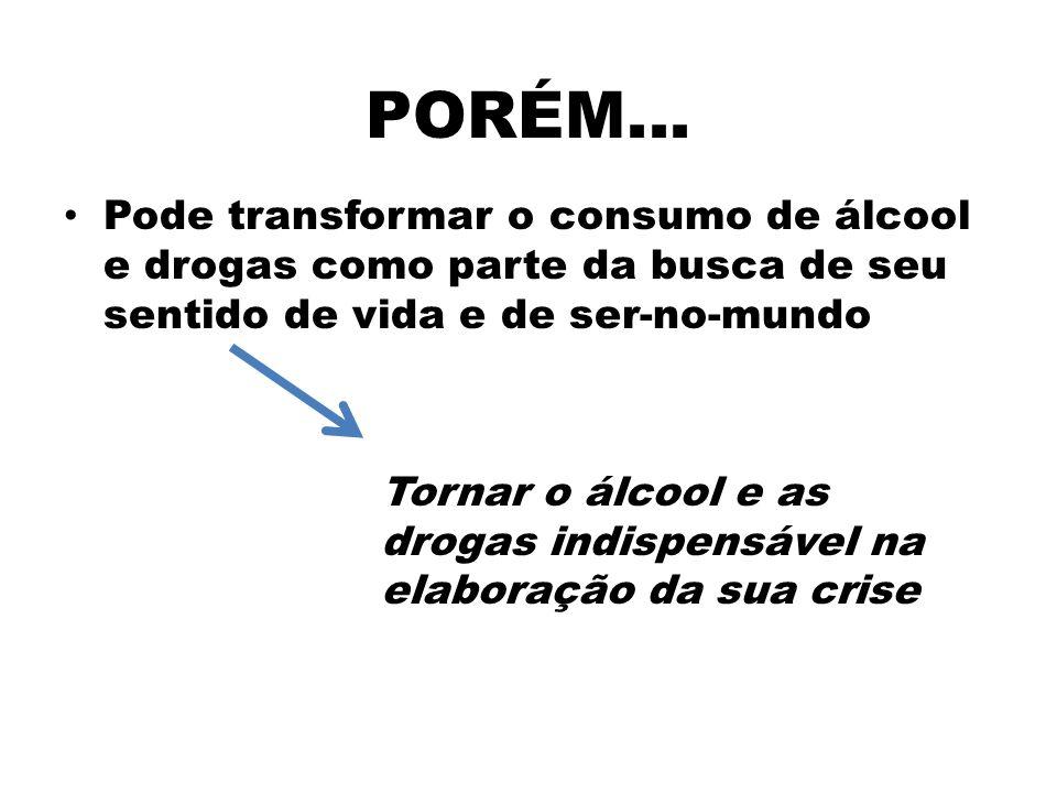 PORÉM... Pode transformar o consumo de álcool e drogas como parte da busca de seu sentido de vida e de ser-no-mundo Tornar o álcool e as drogas indisp