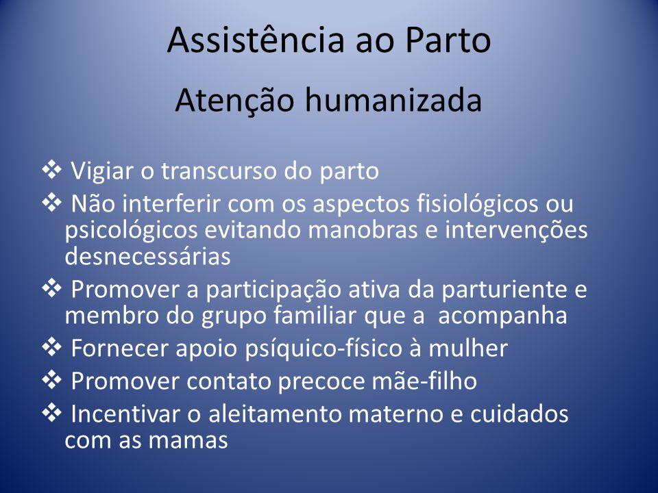 Assistência ao Parto Atenção humanizada Vigiar o transcurso do parto Não interferir com os aspectos fisiológicos ou psicológicos evitando manobras e i