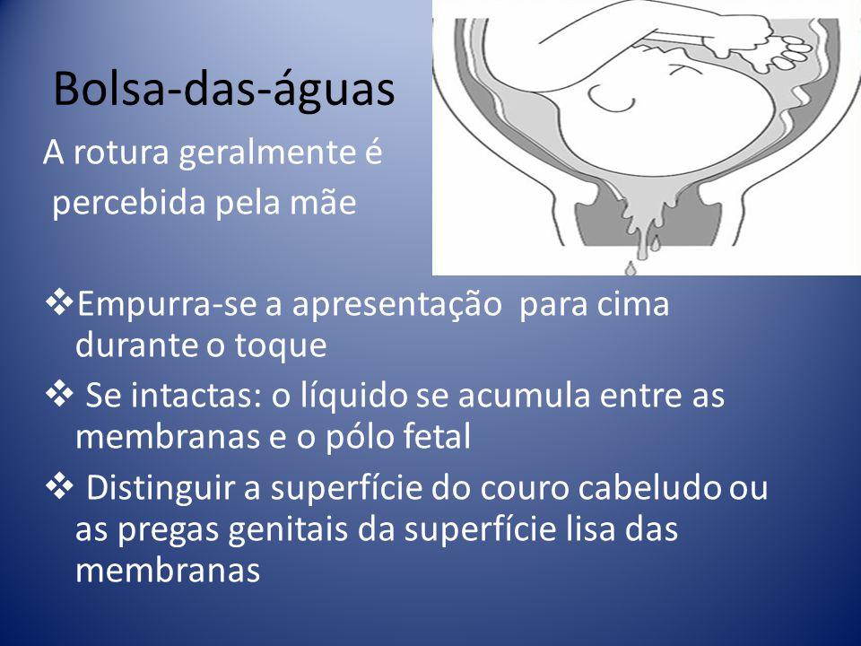 Bolsa-das-águas A rotura geralmente é percebida pela mãe Empurra-se a apresentação para cima durante o toque Se intactas: o líquido se acumula entre a