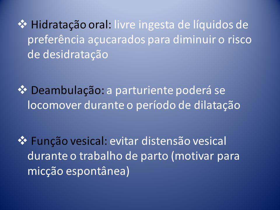 Hidratação oral: livre ingesta de líquidos de preferência açucarados para diminuir o risco de desidratação Deambulação: a parturiente poderá se locomo