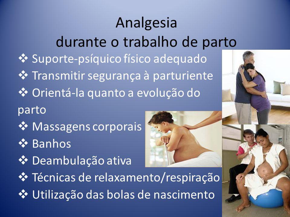 Analgesia durante o trabalho de parto Suporte-psíquico físico adequado Transmitir segurança à parturiente Orientá-la quanto a evolução do parto Massag