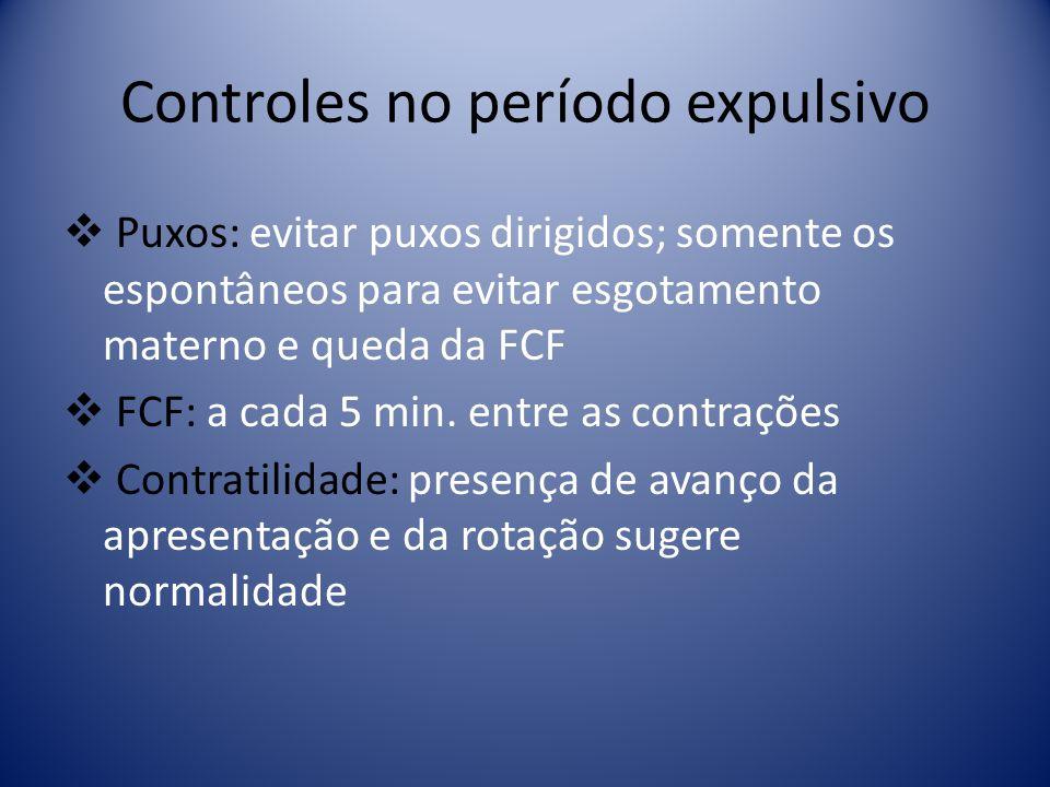 Controles no período expulsivo Puxos: evitar puxos dirigidos; somente os espontâneos para evitar esgotamento materno e queda da FCF FCF: a cada 5 min.