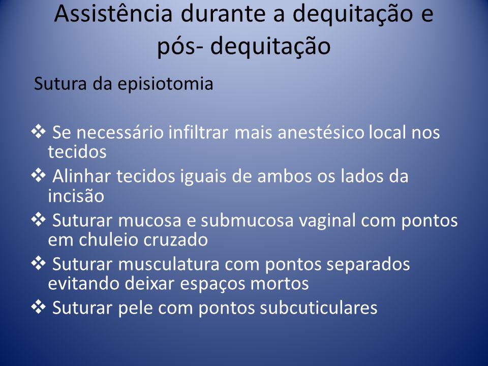 Assistência durante a dequitação e pós- dequitação Sutura da episiotomia Se necessário infiltrar mais anestésico local nos tecidos Alinhar tecidos igu