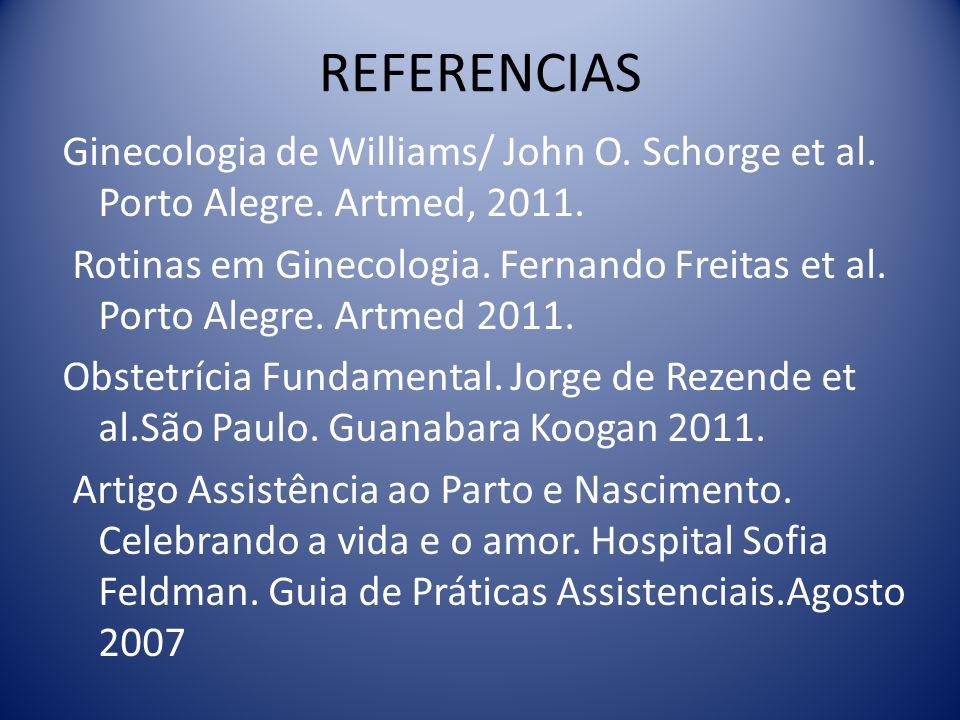 REFERENCIAS Ginecologia de Williams/ John O. Schorge et al. Porto Alegre. Artmed, 2011. Rotinas em Ginecologia. Fernando Freitas et al. Porto Alegre.