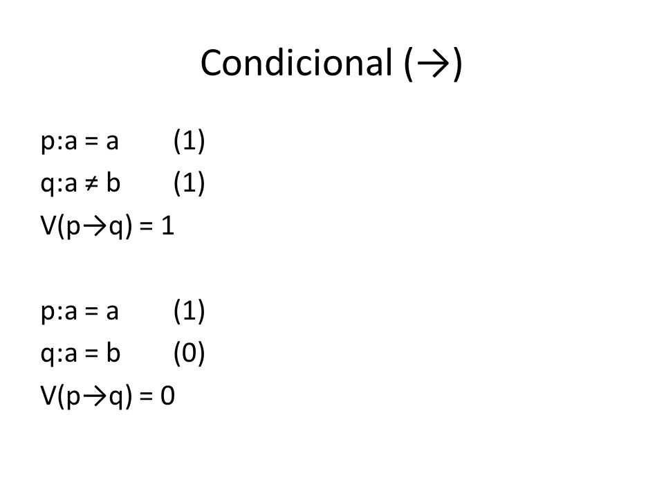 Condicional () p:a = a(1) q:a b(1) V(pq) = 1 p:a = a(1) q:a = b(0) V(pq) = 0
