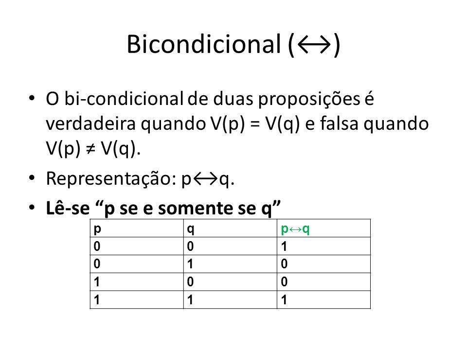 Bicondicional () O bi-condicional de duas proposições é verdadeira quando V(p) = V(q) e falsa quando V(p) V(q).