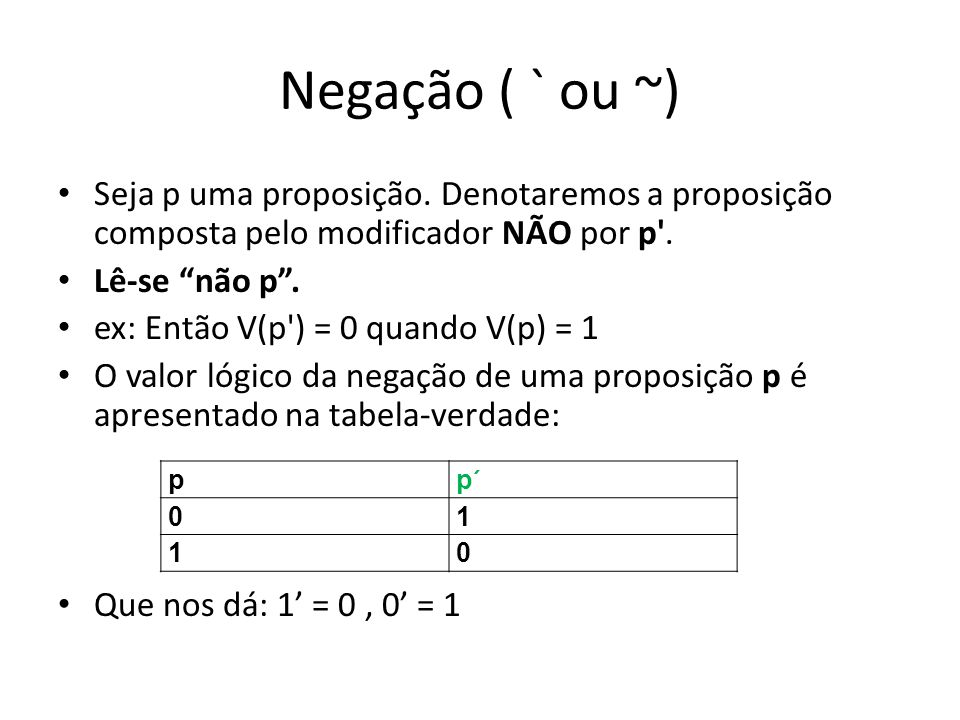 Bicondicional () p: A=A(1) q: A=B(0) V(p q) = 0 p: Grêmio é o 1º do ranking(1) q: Inter é o 8º da ranking(1) V(p q) = 1