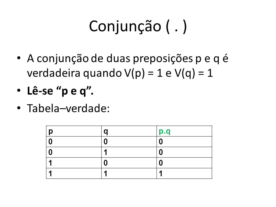 Conjunção (. ) p:5=5(1) q:54 (1) V(p.q)=1 p:5=5(1) q:5<4 (0) V(p.q)=0