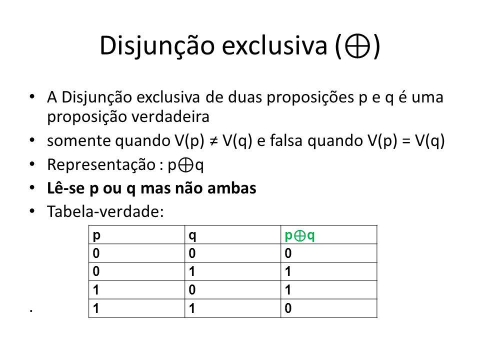 Disjunção exclusiva ( ) A Disjunção exclusiva de duas proposições p e q é uma proposição verdadeira somente quando V(p) V(q) e falsa quando V(p) = V(q) Representação : p q Lê-se p ou q mas não ambas Tabela-verdade:.