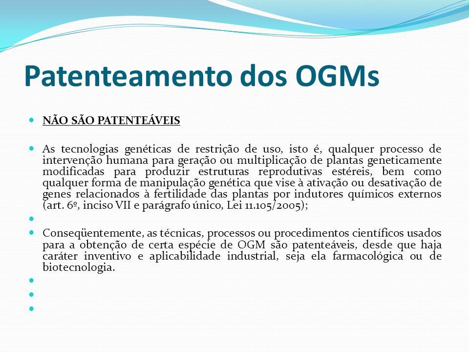 Patenteamento dos OGMs NÃO SÃO PATENTEÁVEIS As tecnologias genéticas de restrição de uso, isto é, qualquer processo de intervenção humana para geração