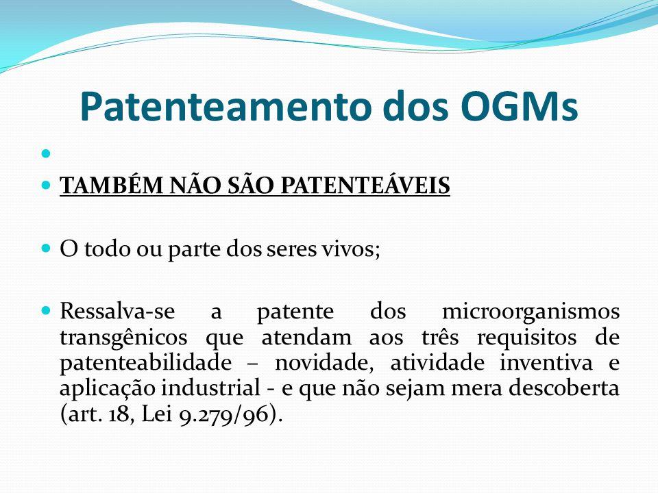 Patenteamento dos OGMs TAMBÉM NÃO SÃO PATENTEÁVEIS O todo ou parte dos seres vivos; Ressalva-se a patente dos microorganismos transgênicos que atendam