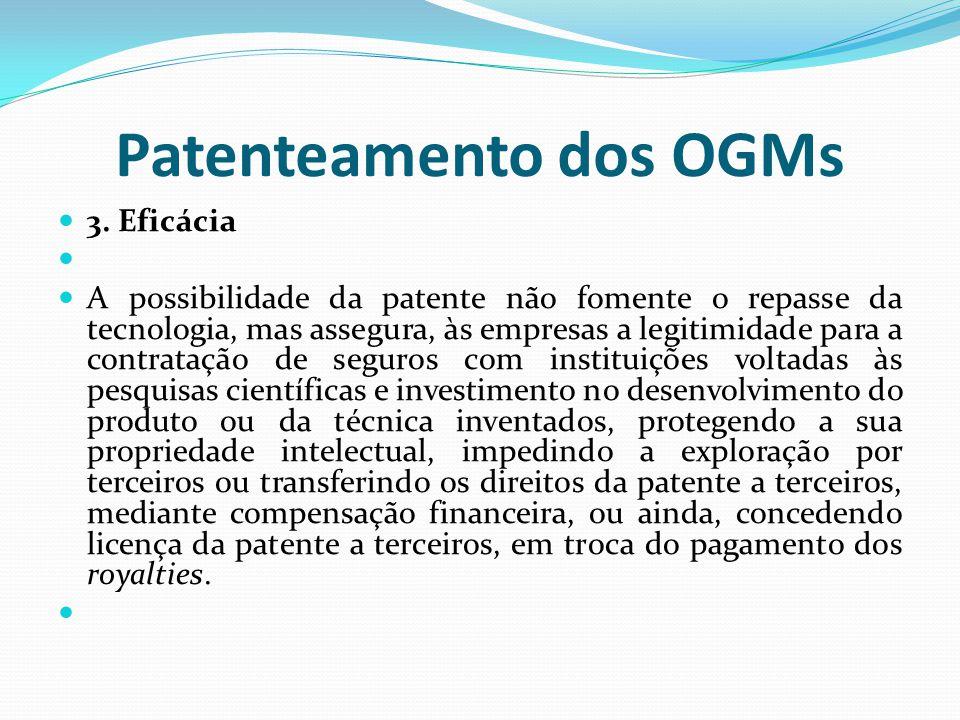 Patenteamento dos OGMs 3. Eficácia A possibilidade da patente não fomente o repasse da tecnologia, mas assegura, às empresas a legitimidade para a con