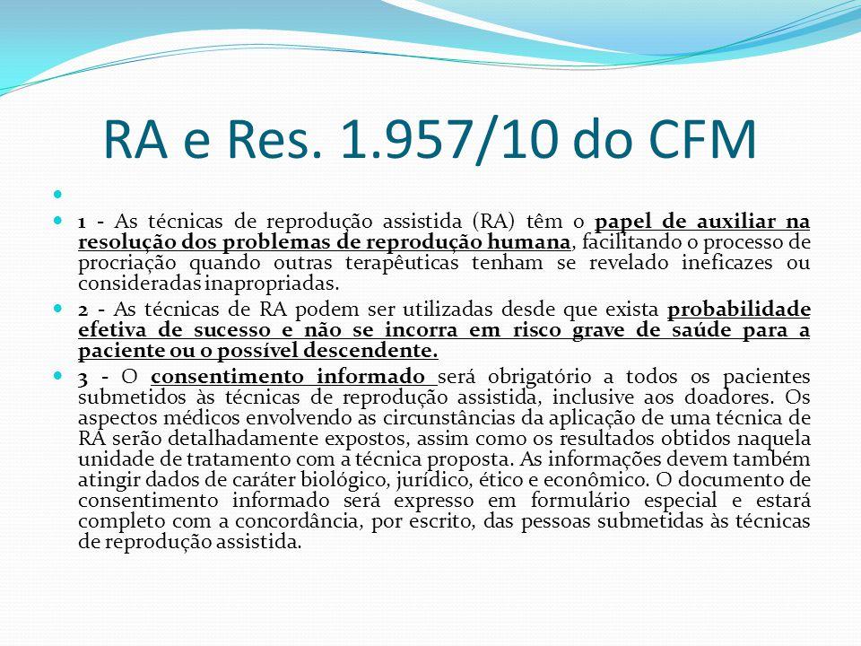 RA e Res. 1.957/10 do CFM 1 - As técnicas de reprodução assistida (RA) têm o papel de auxiliar na resolução dos problemas de reprodução humana, facili