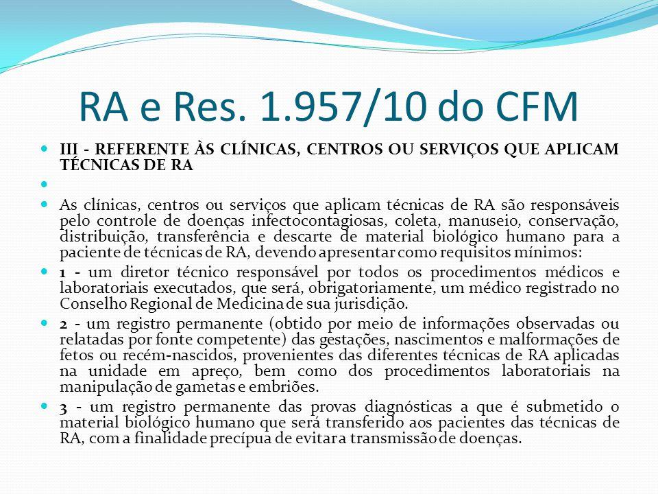 RA e Res. 1.957/10 do CFM III - REFERENTE ÀS CLÍNICAS, CENTROS OU SERVIÇOS QUE APLICAM TÉCNICAS DE RA As clínicas, centros ou serviços que aplicam téc
