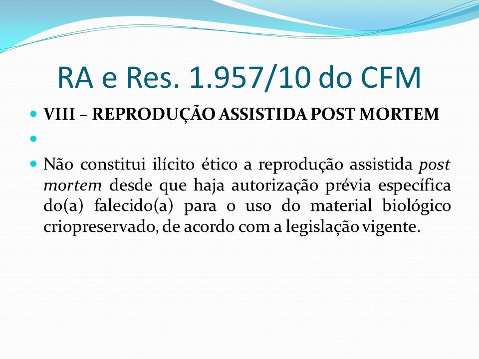 RA e Res. 1.957/10 do CFM VIII – REPRODUÇÃO ASSISTIDA POST MORTEM Não constitui ilícito ético a reprodução assistida post mortem desde que haja autori