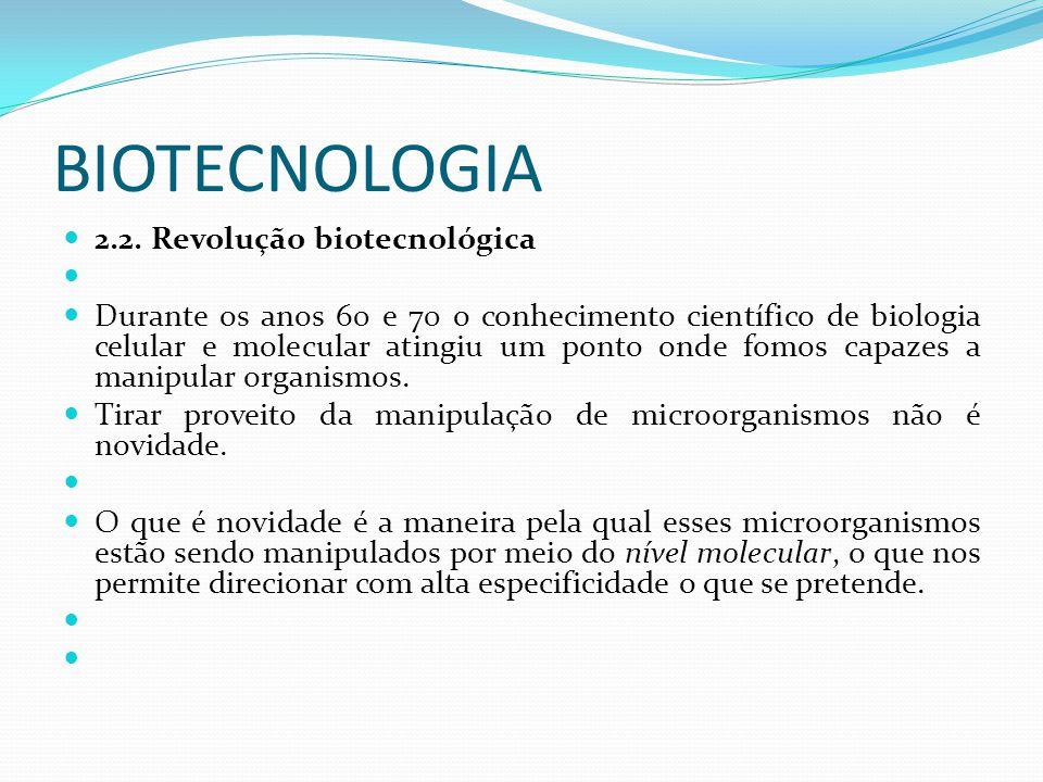 BIOTECNOLOGIA 2.2. Revolução biotecnológica Durante os anos 60 e 70 o conhecimento científico de biologia celular e molecular atingiu um ponto onde fo