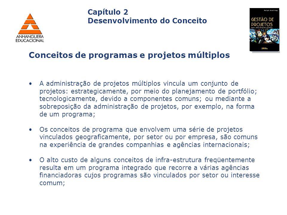 Capa da Obra Capítulo 2 Desenvolvimento do Conceito A administração de projetos múltiplos vincula um conjunto de projetos: estrategicamente, por meio