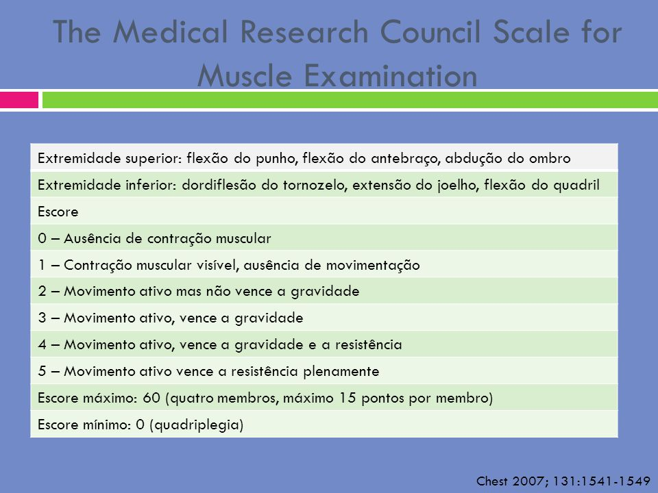 The Medical Research Council Scale for Muscle Examination Extremidade superior: flexão do punho, flexão do antebraço, abdução do ombro Extremidade inf