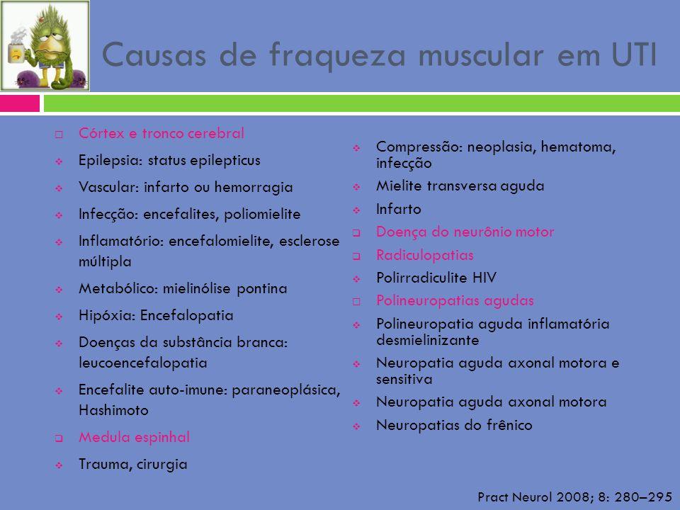 Causas de fraqueza muscular em UTI Córtex e tronco cerebral Epilepsia: status epilepticus Vascular: infarto ou hemorragia Infecção: encefalites, polio