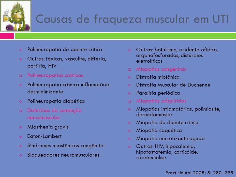 Causas de fraqueza muscular em UTI Polineuropatia do doente crítico Outras: tóxicas, vasculite, difteria, porfiria, HIV Polineuropatias crônicas Polin