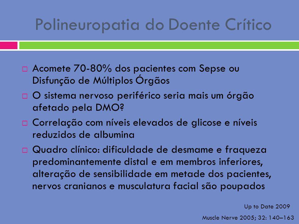 Polineuropatia do Doente Crítico Acomete 70-80% dos pacientes com Sepse ou Disfunção de Múltiplos Órgãos O sistema nervoso periférico seria mais um ór