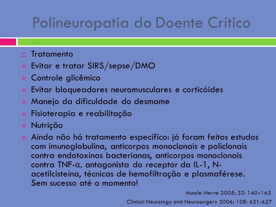 Polineuropatia do Doente Crítico Tratamento Evitar e tratar SIRS/sepse/DMO Controle glicêmico Evitar bloqueadores neuromusculares e corticóides Manejo