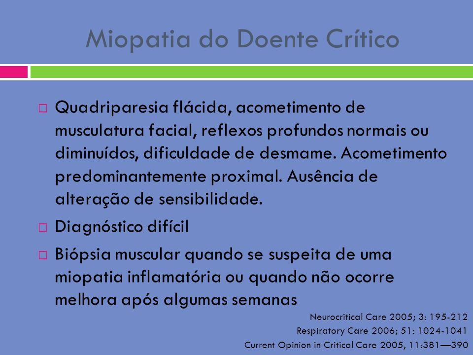 Miopatia do Doente Crítico Quadriparesia flácida, acometimento de musculatura facial, reflexos profundos normais ou diminuídos, dificuldade de desmame