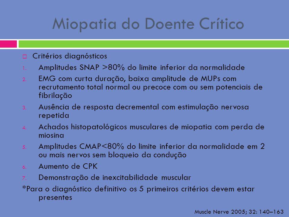 Miopatia do Doente Crítico Critérios diagnósticos 1. Amplitudes SNAP >80% do limite inferior da normalidade 2. EMG com curta duração, baixa amplitude