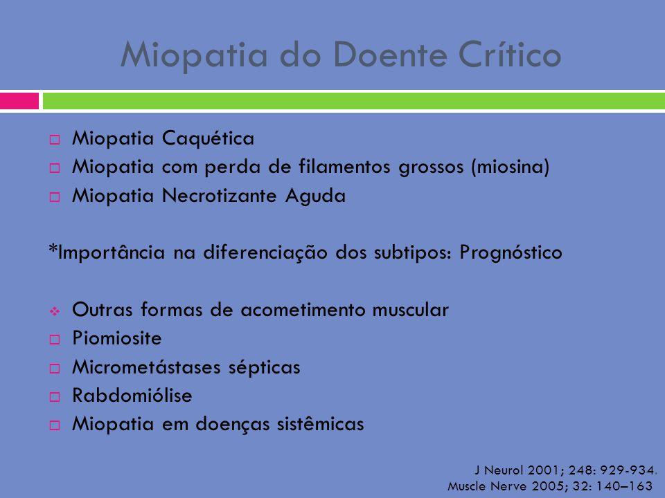 Miopatia do Doente Crítico Miopatia Caquética Miopatia com perda de filamentos grossos (miosina) Miopatia Necrotizante Aguda *Importância na diferenci
