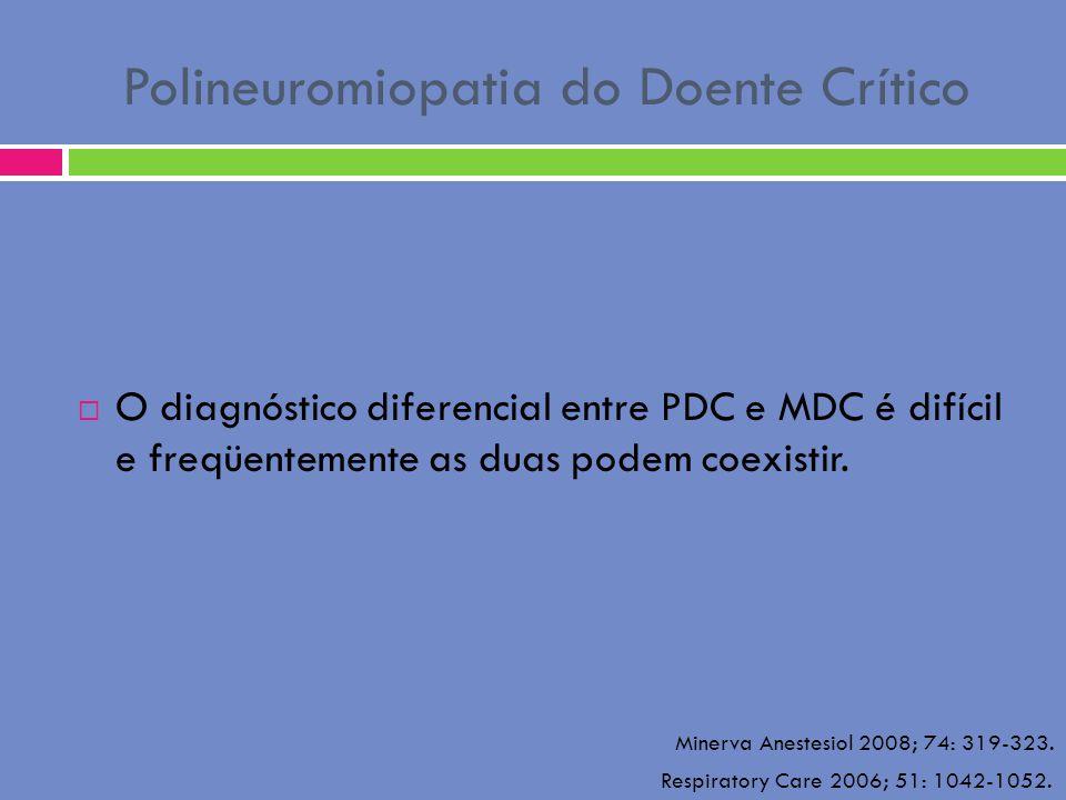 Polineuromiopatia do Doente Crítico O diagnóstico diferencial entre PDC e MDC é difícil e freqüentemente as duas podem coexistir. Minerva Anestesiol 2