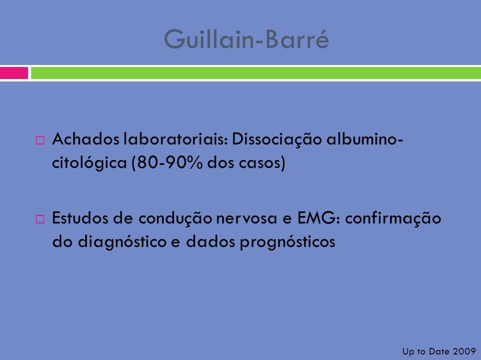 Guillain-Barré Achados laboratoriais: Dissociação albumino- citológica (80-90% dos casos) Estudos de condução nervosa e EMG: confirmação do diagnóstic