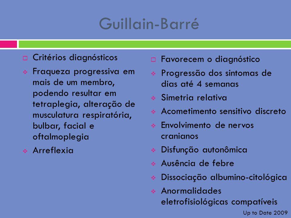 Guillain-Barré Critérios diagnósticos Fraqueza progressiva em mais de um membro, podendo resultar em tetraplegia, alteração de musculatura respiratóri