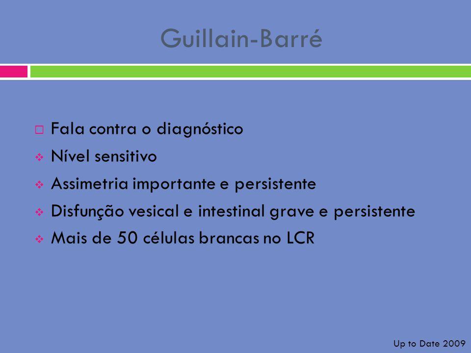 Guillain-Barré Fala contra o diagnóstico Nível sensitivo Assimetria importante e persistente Disfunção vesical e intestinal grave e persistente Mais d