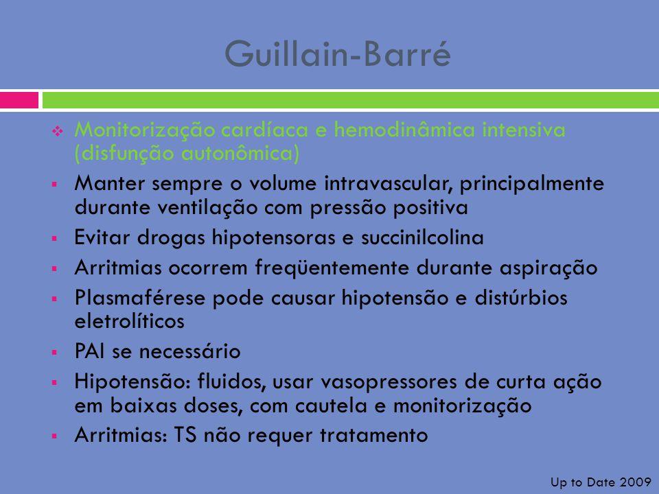 Guillain-Barré Monitorização cardíaca e hemodinâmica intensiva (disfunção autonômica) Manter sempre o volume intravascular, principalmente durante ven