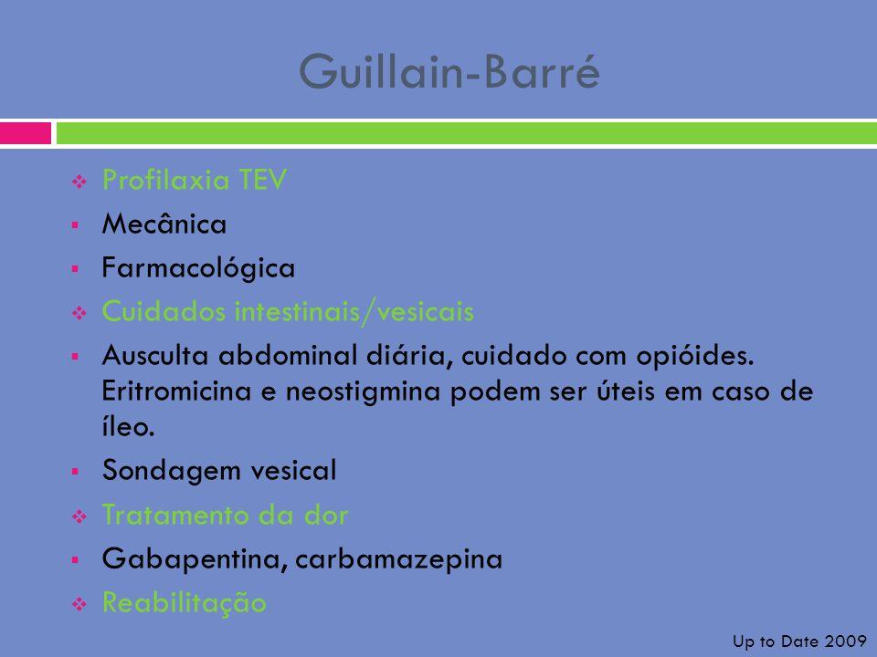 Guillain-Barré Profilaxia TEV Mecânica Farmacológica Cuidados intestinais/vesicais Ausculta abdominal diária, cuidado com opióides. Eritromicina e neo
