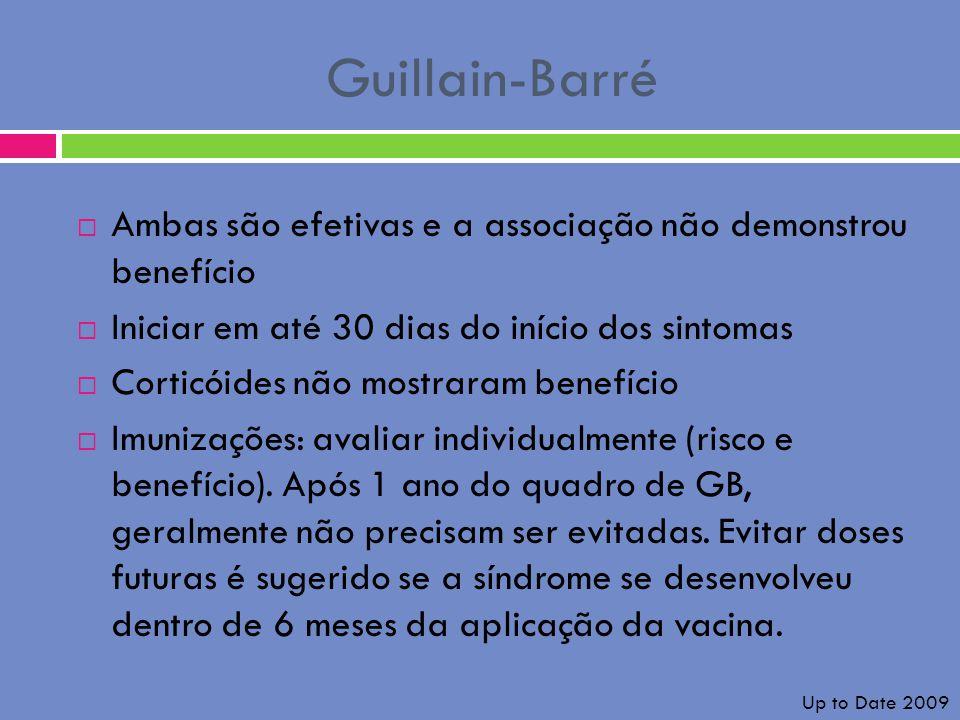 Guillain-Barré Ambas são efetivas e a associação não demonstrou benefício Iniciar em até 30 dias do início dos sintomas Corticóides não mostraram bene