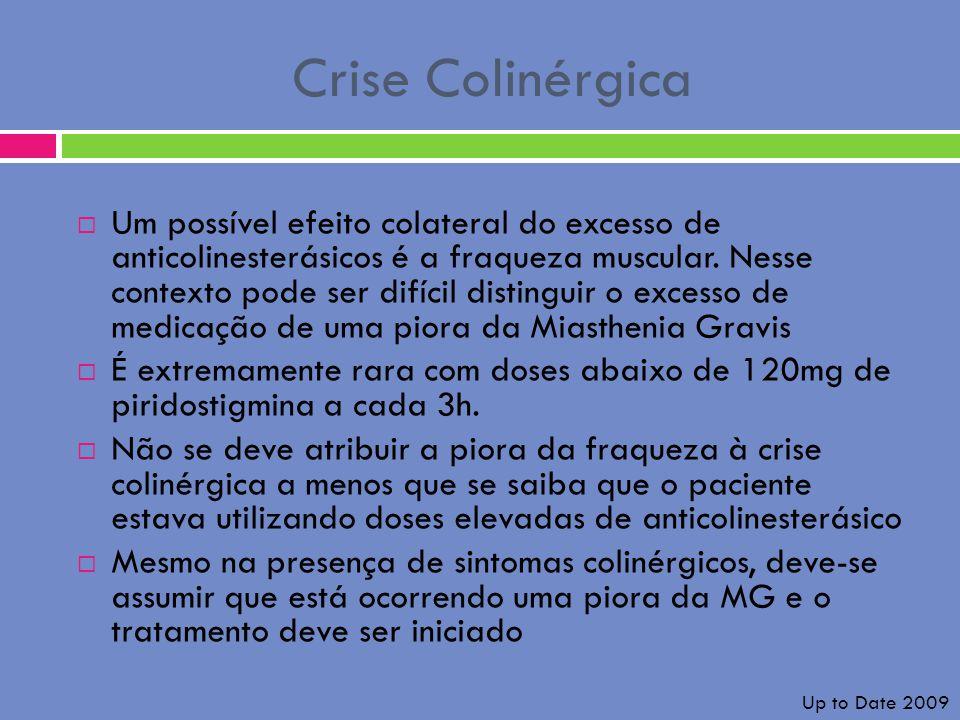 Crise Colinérgica Um possível efeito colateral do excesso de anticolinesterásicos é a fraqueza muscular. Nesse contexto pode ser difícil distinguir o