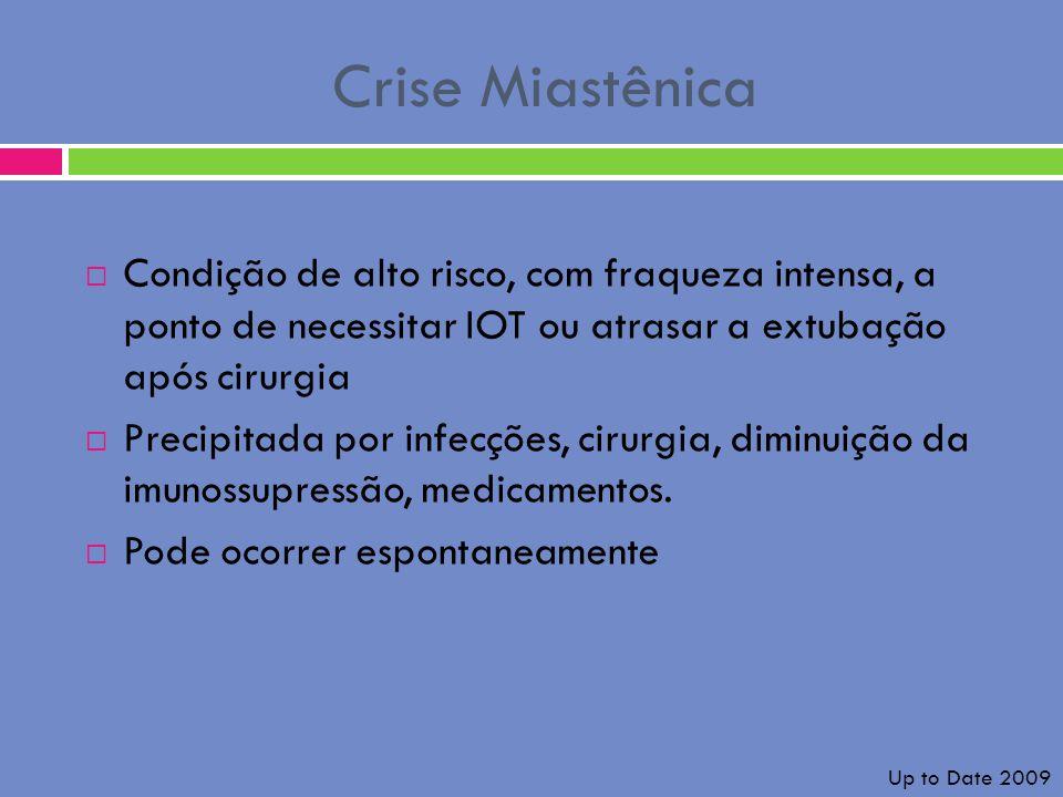 Crise Miastênica Condição de alto risco, com fraqueza intensa, a ponto de necessitar IOT ou atrasar a extubação após cirurgia Precipitada por infecçõe